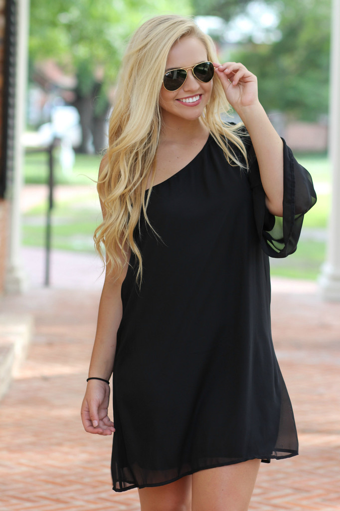 Emerson One Shoulder Dress: Black