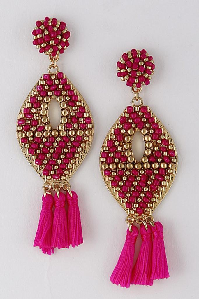 Top It Off Earrings: Fuchsia