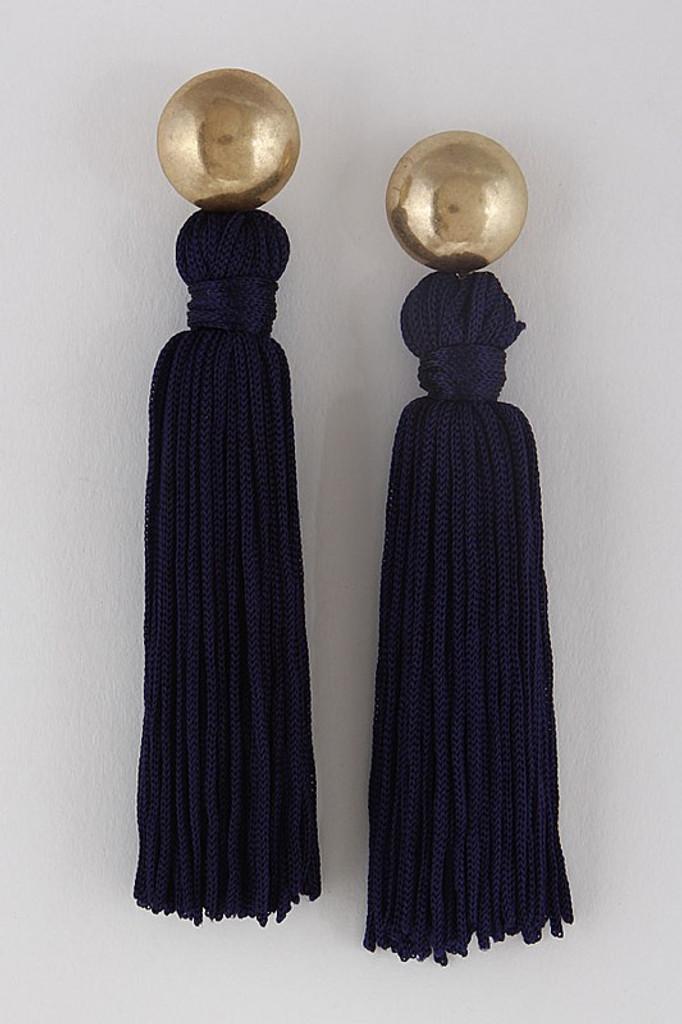 Flaunt It Tassel Earrings: Navy