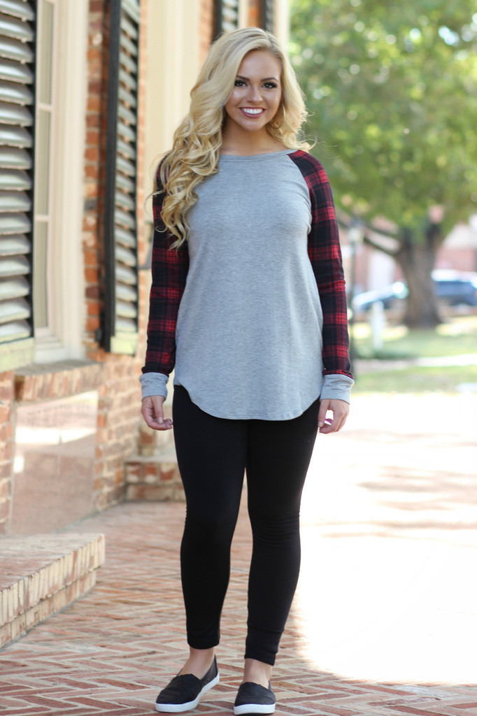 Plaid And Simple Top: Grey