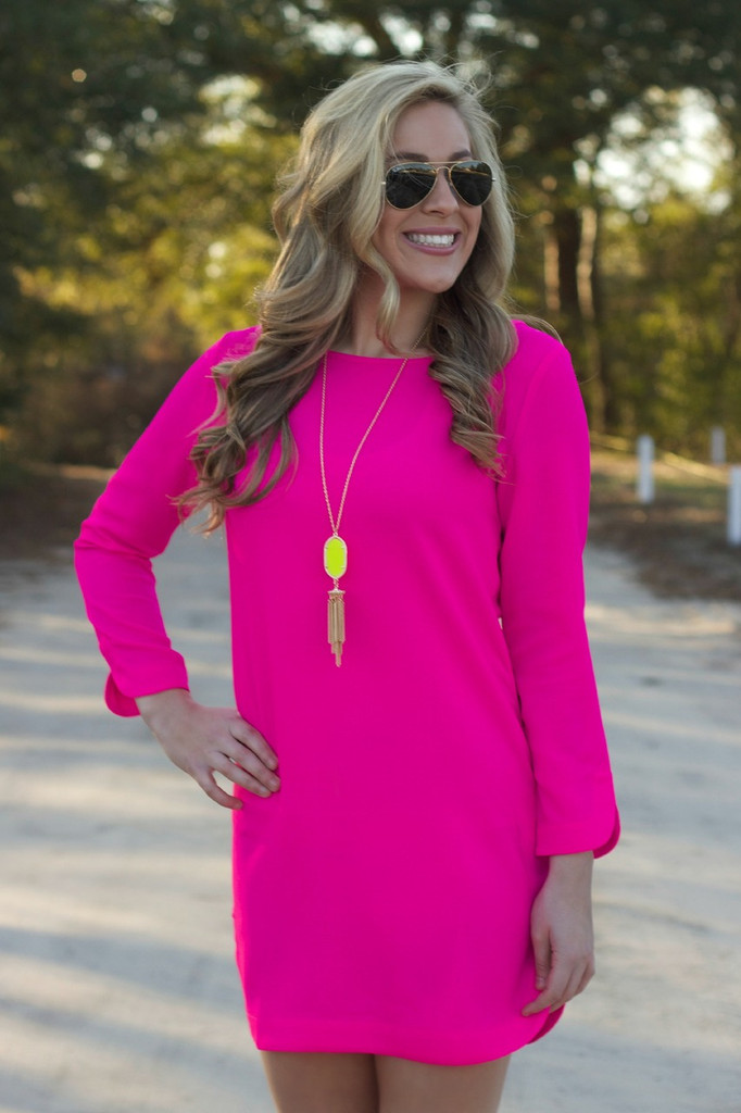 Out And About Dress: Hot Pink