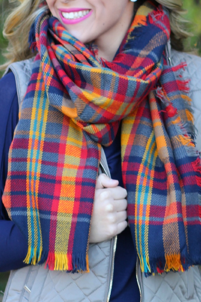 Time & Time Again Blanket Scarf: Navy