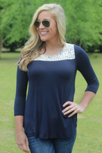 The Key To Happiness Top: Navy
