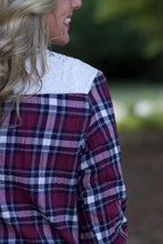 A Fall Day Plaid Cardigan: Navy/Wine