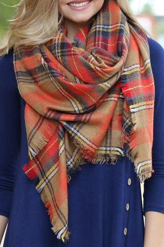 Warmest Layer Blanket Scarf: Navy/Camel