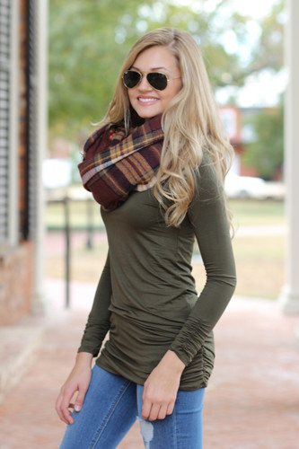 Side Cinched Tunic: Olive