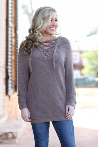 Tied Up With You Sweater: Mocha