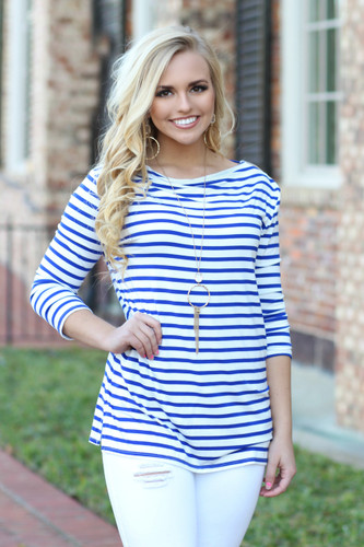 Wish Me Luck Striped Top: Royal