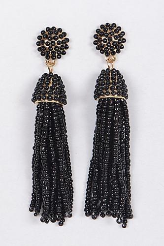 Tassel Earrings: Black