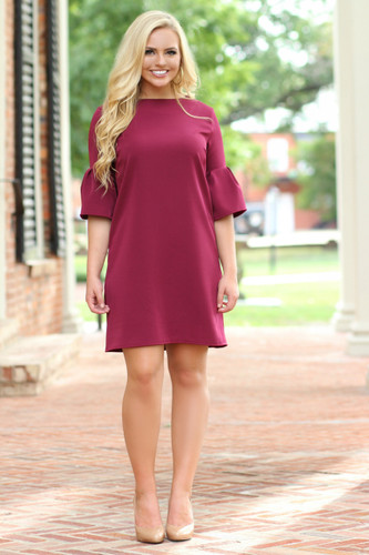 New Approach Dress: Burgundy