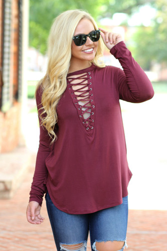 All Laced Up Top: Burgundy