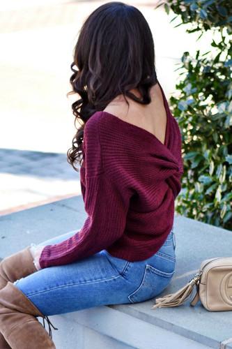 Twist Back Sweater: Burgundy