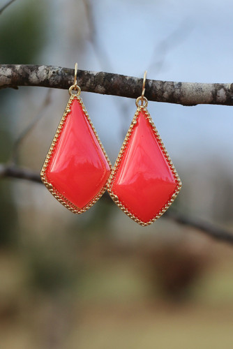 The Tinsley Drop Earrings: Deep Coral