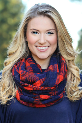 Keep It Simple Infinity Scarf: Red/Navy