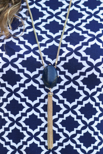 Be Bold Necklace {Reversible}: Navy/Peacock