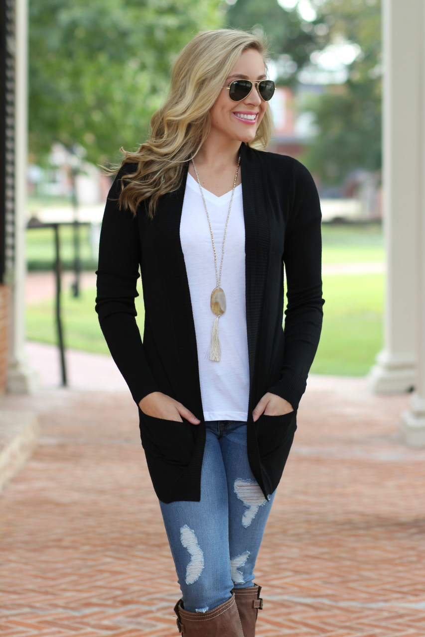 Classic Cardigan: Black - Lavish Boutique