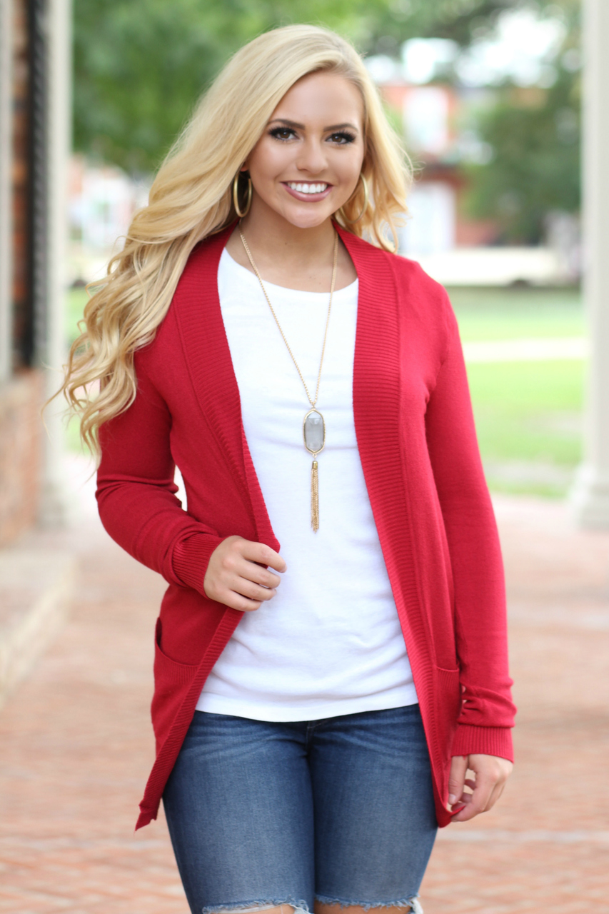 Red Classic Cardigan | Lavish Boutique
