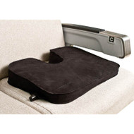 Wedge shaped cushion with tailbone cutout eases seat fatigue on those long flights