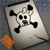 cute girly girl skull and crossbones decal with bow on ipad