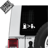 Gas pump greater than rechargeable battery decal on Jeep