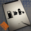 Gas pump greater than rechargeable battery decal on iPad