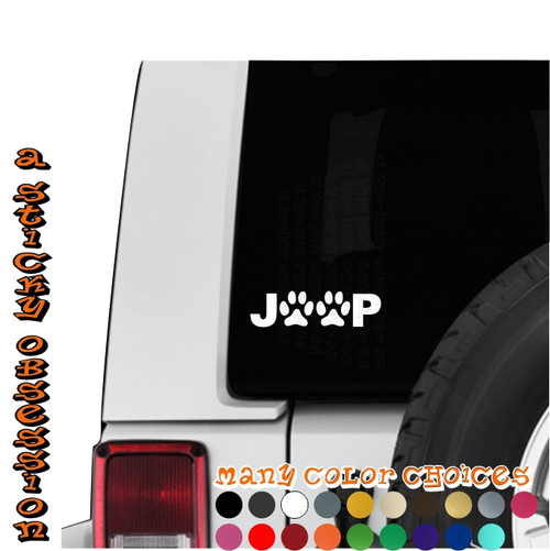 Jeep Paw Print white decal on jeep