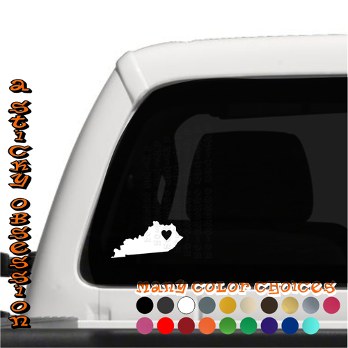 Kentucky Heart white decal on truck