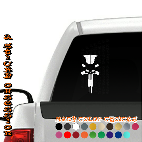 AR15 Black Rifle Skull Punisher Decal on truck