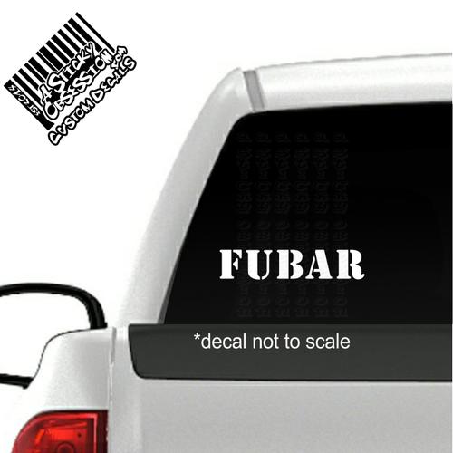 FUBAR Decal on truck