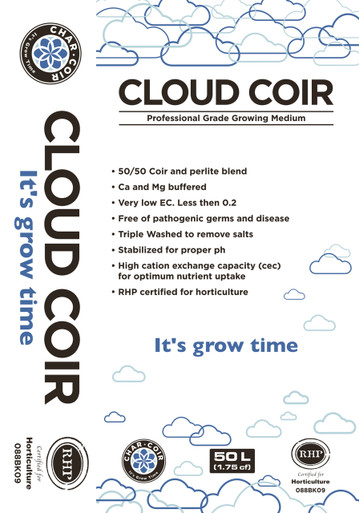 Cloud Coir is a ready-to-grow, RHP-certified blendded Coco Coir and Perlite medium. One of the most important elements a plant needs to grow is oxygen at the root zone. Cloud Coir 50/50 blend is the perfect ratio for roots to thrive and not become over saturated, allowing for better nutrient uptake more frequently. Cloud Coir has also received  RHP certification from Holland.   50/50 Coco Coir and Perlite blend Ca and Mg buffered Very low EC. Less then 0.2 Free of pathogenic germs and disease Triple Washed to remove salts Stabilized for proper PH High Cation Exchange Capacity (CEC) for optimum nutrient uptake RHP certified for horticulture Made in India
