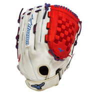 Mizuno GMVP1400PSES3 Slowpitch Softball Glove 14 inch (Silver-Red-Royal, Right Hand Throw)
