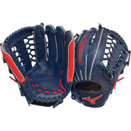 Mizuno MVP Prime SE GMVP1277PSE2 Outfield Baseball Glove (Navy/Red, Right Handed Throw)
