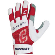 Combat Derby Life Youth Batting Gloves (Pair) (Red, Medium)