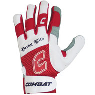 Combat Derby Life Youth Batting Gloves (Pair) (Red, Large)