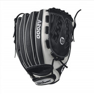 Wilson A2000 V125 SuperSkin Fastpitch Glove BlackWhite 12.5inch Right Hand Throw