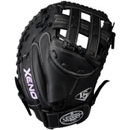Louisville Slugger Xeno 33 Inch Fastpitch Catchers Mitt Dual Post Black Right Hand Throw