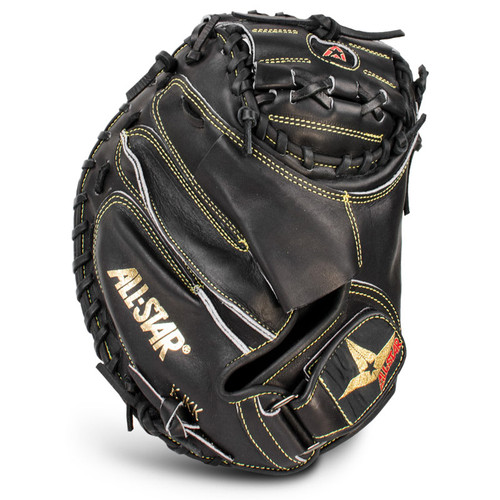 All-Star Pro Elite Catchers Mitt Black Closed Black 35 Inch Right Hand Throw