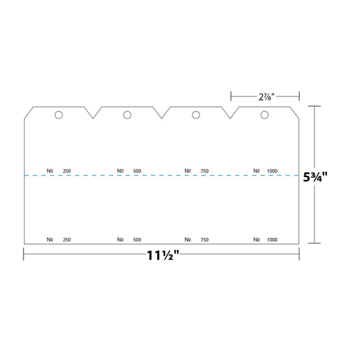 """2.875"""" x 5.75"""" Tag Numbered 01-1000 with Hole Removed on 5.75"""" x 11.5"""", 90 Lb. Index, 1000/pack"""