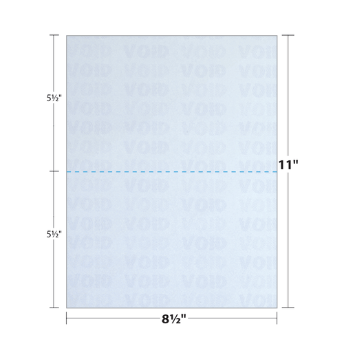 """8.5"""" x 11"""" Security Paper Perforated in Half, Blue 65 Lb. Cover, 500 Sheets/pack"""
