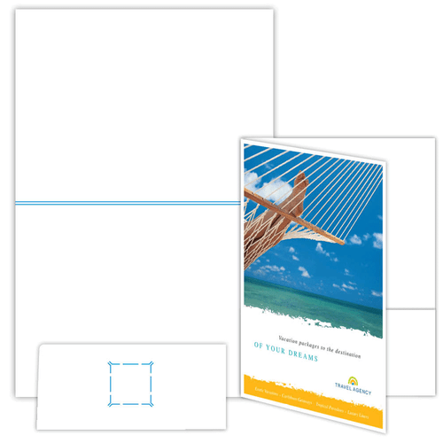 """9"""" x 12"""" One Pocket Presentation Folder with Gusseted Spine and on 12"""" x 18"""", 80 Lb. Smooth Cover, 100 Folders/pack"""