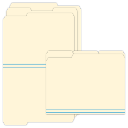 """9.5"""" x 11"""" File Folder with Assorted Tabs on 11.75"""" x 18.5"""", Manila 125 Lb. Tag Stock, 250/pack"""