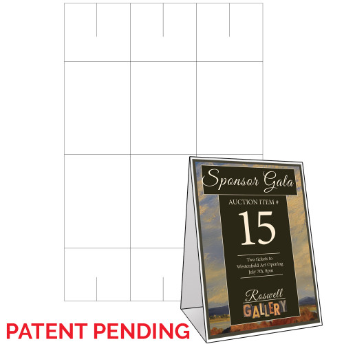 """4"""" x 5.625"""" Lift Off™ Table Tent on 12"""" x 18"""", White 100 Lb. Vellum, 150 Table Tents/Pack"""