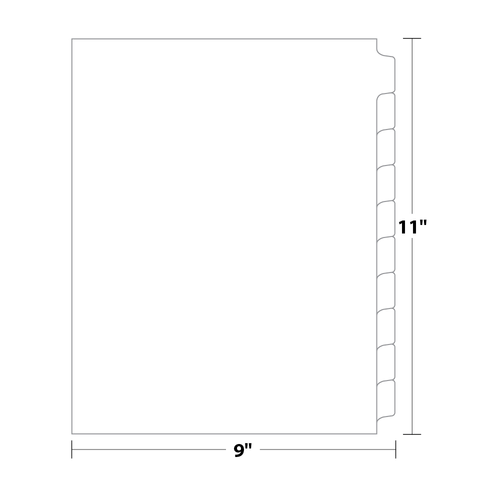 10-Bank Tab Dividers, Uncollated, 90 Lb. Index, 100 Sets/pack