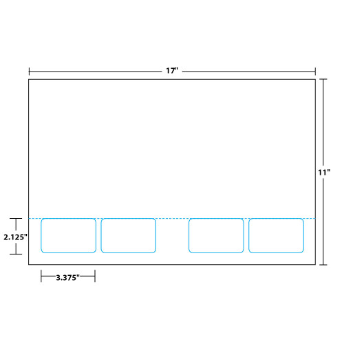 "8.5"" x 11"" Sheet with Two Integrated Cards on 11"" x 17"", White 10 Mil. Synthetic Paper, 100 Sheets, 400 Cards/Pack"