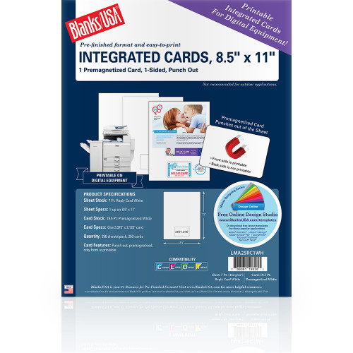 """8.5"""" x 11"""" sheet with One Premagnetized Integrated Card on 8.5"""" x 11"""", White 7 Pt. Reply Card, 250 Sheets, 250 Cards/pack"""