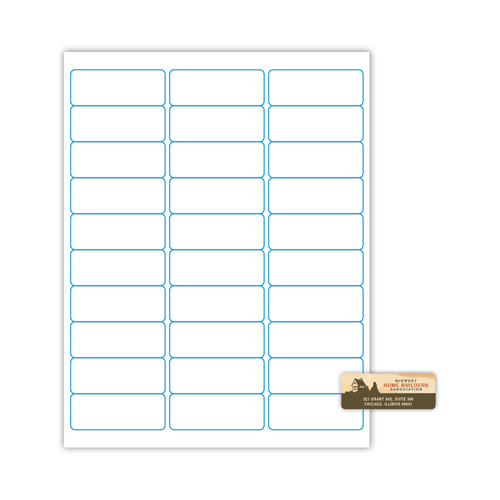 "2.625"" x 1"" Address Label on 8.5"" x 11"", White 120 Lb. Matte, 3000 Labels/pack"