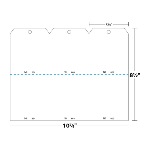 """3.625"""" x 8.5"""" Tag Numbered 01-1000 with Hole Removed on 8.5"""" x 10.875"""", 110 Lb. Index, 1000/pack"""