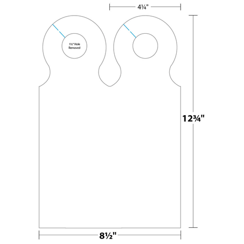 """4.25"""" x 12.75"""" Door Hanger on 8.5"""" x 12.75"""", 67 Lb. Bristol Cover, 500/pack"""