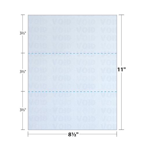 """8.5"""" x 11"""" Security Paper Perforated in Thirds, Blue 65 Lb. Cover, 250 Sheets/pack"""