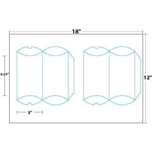 """6.25"""" x 3"""" Lift Off™ Pre-Taped Pillow Box on 12"""" x 18"""", White 100 Lb. Vellum, 100 Boxes/Pack"""